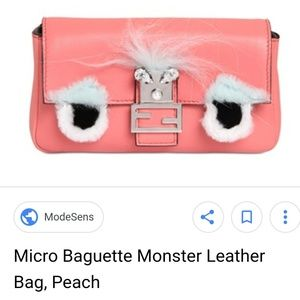 Fendi Peach Micro Monster Baguette